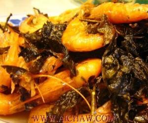 茶叶+活斑节虾制作西湖美丽传说