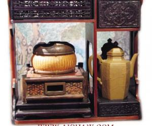 紫檀竹皮包镶手提式茶 及茶炉和六方壶 清乾隆