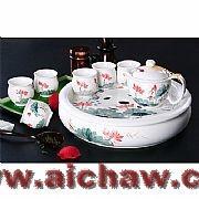 彩雕茶具|彩雕荷花茶具|彩雕荷花茶具欣赏
