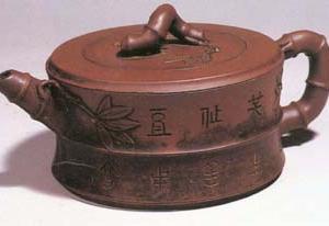 宜兴窑陈曼生紫砂竹节壶