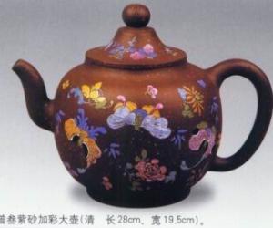 紫砂加彩大壶|清方曾叁紫砂加彩大壶