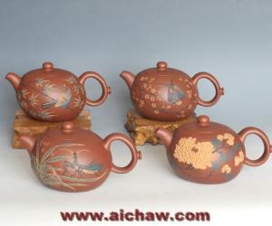 全手工贴花,梅,兰,竹,菊紫砂壶,原矿底槽清泥制作