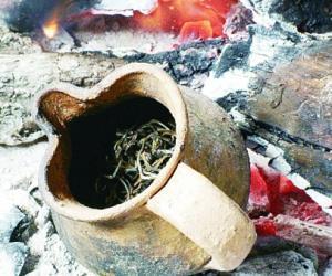 拉祜族的烤茶和竹筒茶